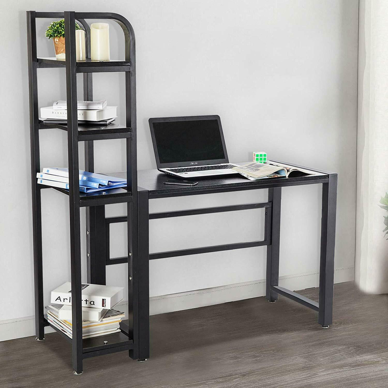 Computer Desk 5-tier Shelf Work Station Bookshelf Storage Home Office Furniture