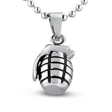 Super Jeweler Men's Rhodium Grenade Necklace 24 inches