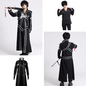 Anime-Sword-Art-Online-Kirito-Kazuto-Kirigaya-Mens-Coat-Cloak-Cosplay-Costume