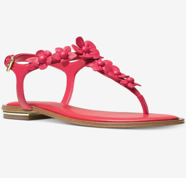 e17a134566e Women's Michael Kors Tricia Floral Thong Sandal Deep Pink/Red Leather Sz 7  NEW