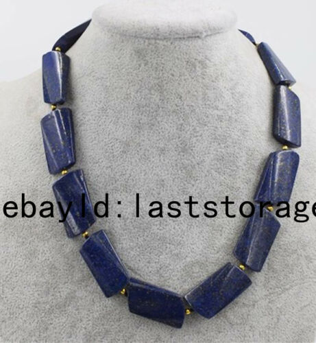"Lapis Lazuli Blue Wave 15*30mm Collier 18/"" Wholesale Fashion Cadeau"