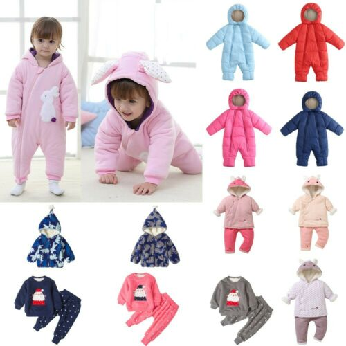 Boys Girl Baby Thick Coats Jacket Kid Zip Snowsuit Hoodie Romper Jumpsuit Outfit
