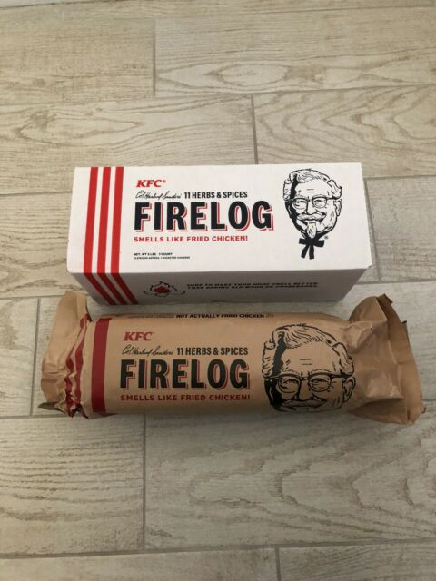 KFC FIRE LOG ENVIROLOG KENTUCKY FRIED CHICKEN 11 HERBS AND SPICES FIRELOG NEW