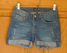 Obey Ladies Size 25 (W27) Distressed Blue Denim Shorts