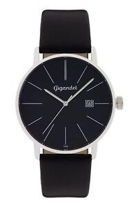 Gigandet Herrenuhr Minimalism Uhr Armbanduhr Leder Schwarz G42-002