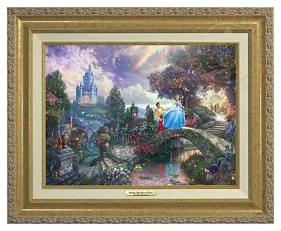 Thomas Kinkade Cinderella Wishes Upon a Dream Canvas Classic (Gold Frame)