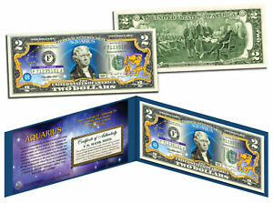 AQUARIUS-Horoscope-Zodiac-Genuine-Legal-Tender-Colorized-U-S-2-Bill