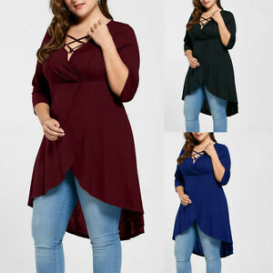 Fashion-Women-Plus-Size-Solid-O-Neck-Lace-Up-Three-Quarter-Sleeve-Top-Shirt