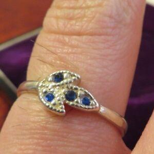 Huebscher-925-Sterling-Silber-Ring-Blaue-Steine-Blatt-Natur-Floral-Vintage-Retro