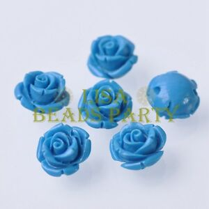 New-10pcs-12mm-Rose-Flower-Synthetic-Coral-Charms-Loose-Spacer-Beads-Lake-Blue