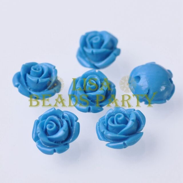 New 10pcs 12mm Rose Flower Synthetic Coral Charms Loose Spacer Beads Lake Blue