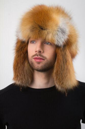 Red Fox Fur Hat Trapper Hat Aviator Saga Furs Hat Natural Fur Hat Golden Fur