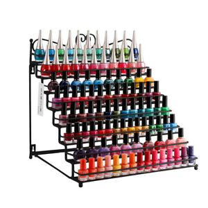 8-Tiers-White-Metal-Nail-Polish-Rack-Display-Table-Shelf-Hold-To-128-Bottles-US