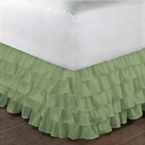"""1 SAGE GYPSY SOLID MULTI RUFFLE DRESSING BED SKIRT WITH PLATFORM 20"""" INCH DROP"""