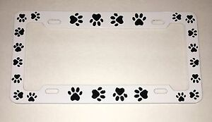 WHITE DOG PAW PAWS Metal License Plate Frame Tag Holder