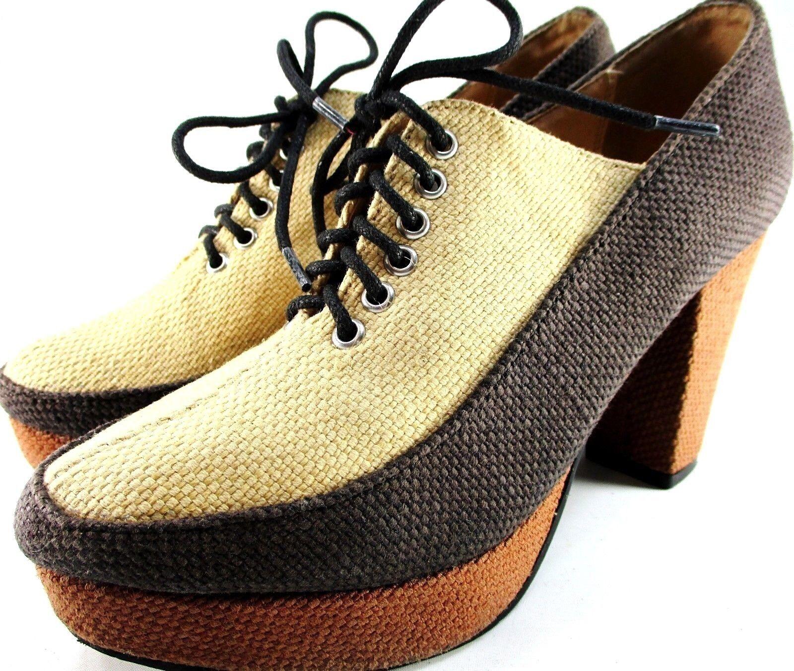 Contributor Rechel Comey Women Heels Size 7 Brown Beige Canvas Lace-Up