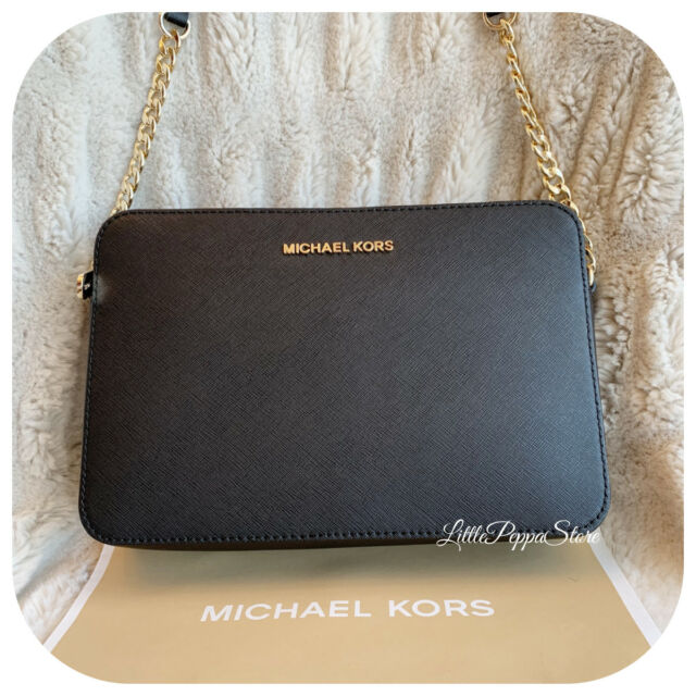 b59b3a73f7 Michael Kors Saffiano Leather Jet Set Large EW Crossbody Bag in ...