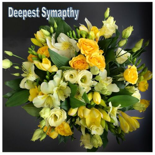 Deepest Sympathy Personalised 21cmSq Yellow Flowers Card S8