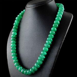 Verde-Esmeralda-778-50-CTS-tierra-minada-forma-redonda-granos-unica-Cadena-Collar