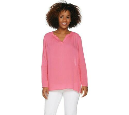 Kelly by Clinton Kelly Split V-neck Woven Tunic XL Guava Pink