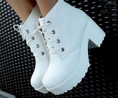 Womens Punk Rock Lace-Up Platform Heels Round Toe Thick Heel Ankle Boots Shoes S
