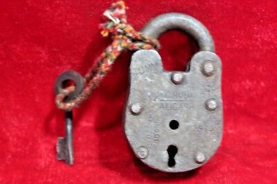 * Old Vintage Antique Handcrafted Iron Lock Key Handcuffs Collectible *