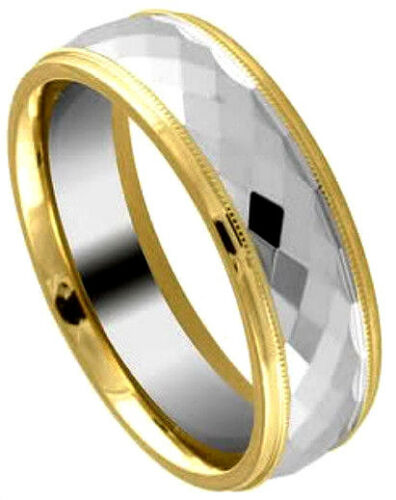 Tungsten Carbide Faceted RING BAND with Gold Plated Edges size 9 in Gift Box