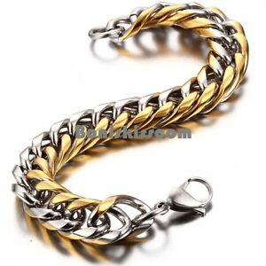 Stainless-Steel-Gold-and-Silver-Tone-Cuban-Link-Chain-Men-039-s-Bracelet-8-6-Inches