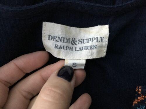 Lauren ricamata Denim Ralph Camicia Small Supply Camicetta Top Medium M S wAI6qIdnr