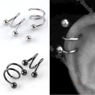 Pick Punk 16G Twist Spiral Ear Cartilage Stud Ring Helix Earrings Body Piercing