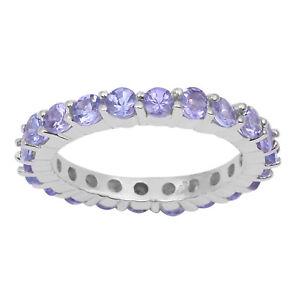 Natural-Tanzanite-Eternity-Band-Stacking-Stackable-Wedding-Gift-Ring-925-Silver