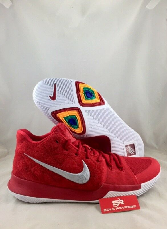 NEW Nike Air Kyrie 3 Basketball chaussures 852395-601 University rouge/Wolf  Gris  f1