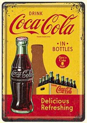 Retro Metal Notepad Drink /'COCA COLA in BOTTLES/' 10x20cm Licensed Prod Red Green