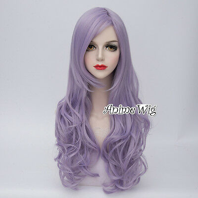 Lolita Purple Long 75CM Curly Fashion Harajuku Party Women Cosplay Wig + Wig Cap