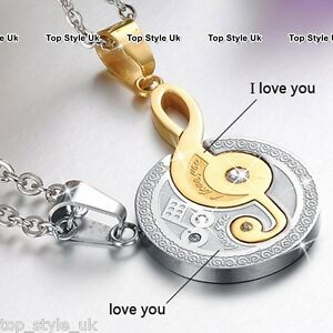 a943181379 Engraved Gold & Silver Couples Necklaces Set Gifts for Him Her Wife ...