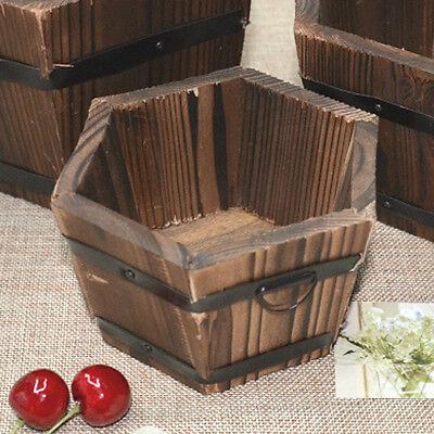 Flower Wooden Pot Retro Garden Decor Planter Home Barrel Succulent Round Outdoor by Unbranded