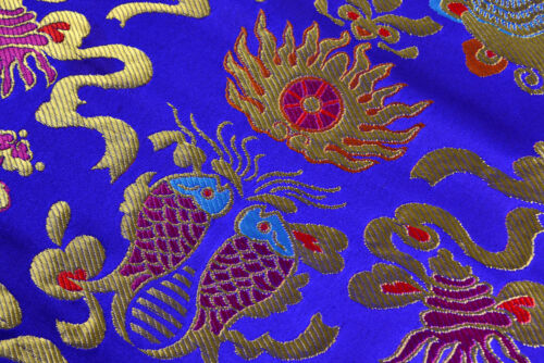 "BY 400CM  28/"" TIBETAN DAMASK JACQUARD BROCADE FABRIC PISCES 8 BUDDHA TREASURES"