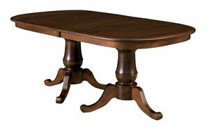 Awesome Details About Amish Double Pedestal Dining Table Traditional Solid Wood Furniture 42X72 Leaves Home Remodeling Inspirations Cosmcuboardxyz