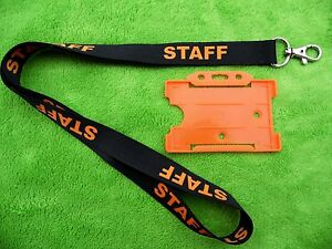 10 x Staff Black Lanyard,Neck Strap with Strong Metal Clip & 10 x Orange ID card