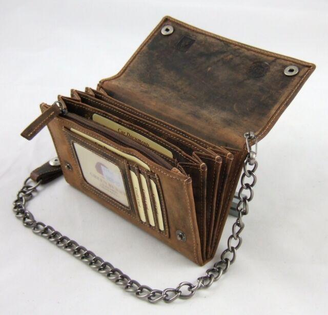 GreenBurry Biker-Börse lang Kette 42 cm Rind-Leder Scheintasche Geldbörse 1820-S