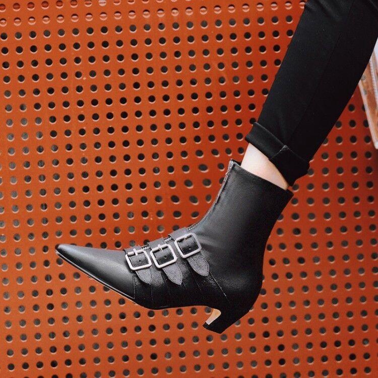 Donna Pointed Toe Kitten Mid Heels Roman Ankle stivali Buckle Punk High Top scarpe