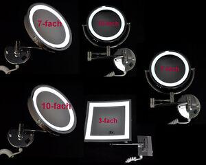 led spiegel wandspiegel kosmetikspiegel beleuchtung schminkspiegel 3 7 10 fach ebay. Black Bedroom Furniture Sets. Home Design Ideas