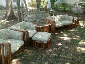 Details about Vintage bamboo patio set brown jordan sofa chairs end tables  rattan furniture