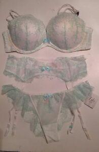 3fce538133 Victoria s Secret I Do Multiway Bra Panty Set 4 pc Garter Stockings ...