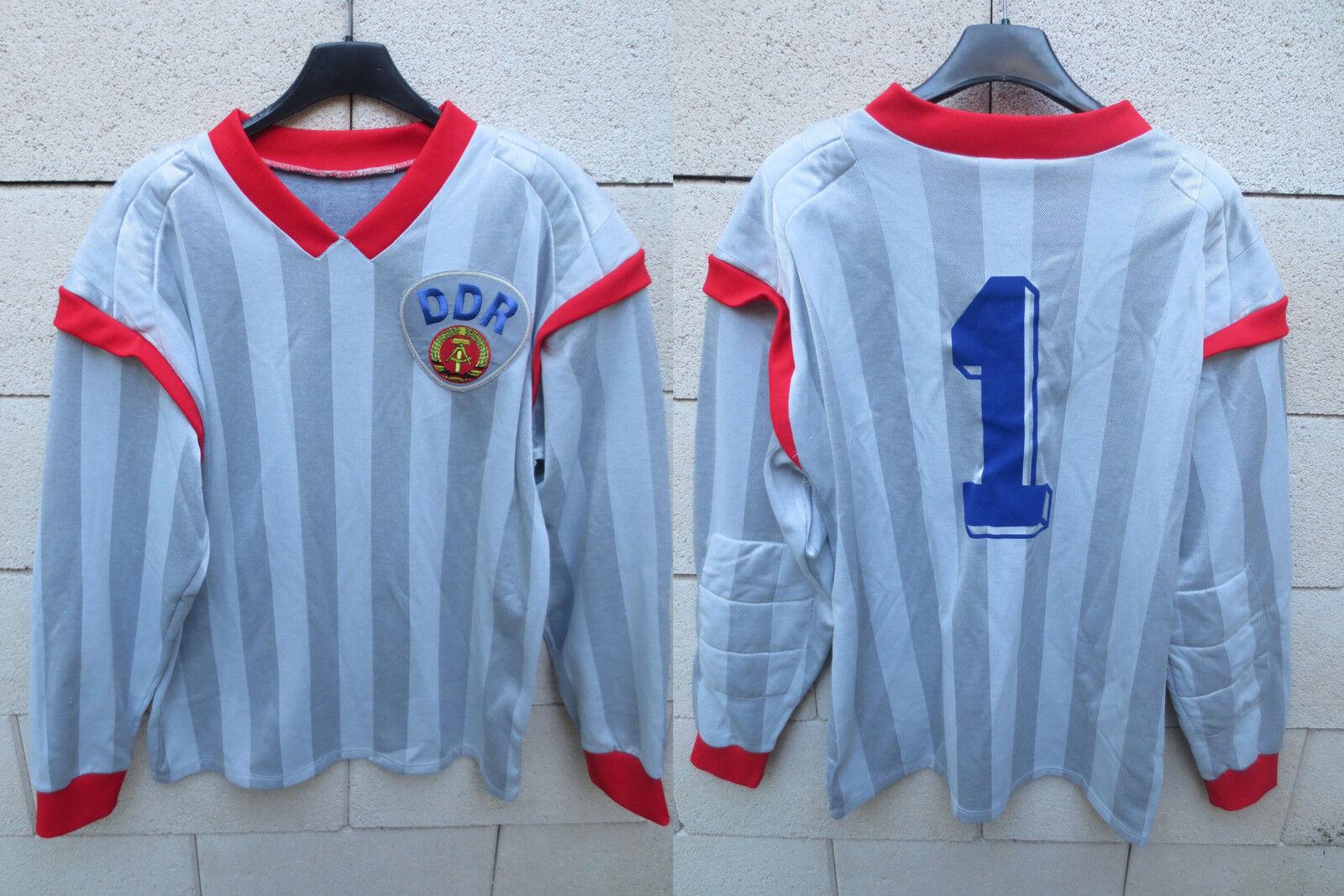 VINTAGE Maillot RDA DDR goal n°1 trikot oldschool shirt football années 80 M