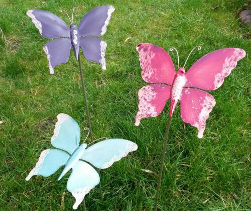 Gartenstecker 3er Set Schmetterling Gartenfigur Metall bunt Deko Beetstecker