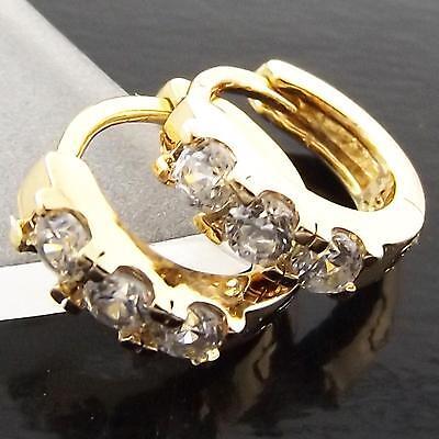 Hoop Earrings 18k Yellow G//F Gold Solid Ladies Diamond Simulated Huggie Design