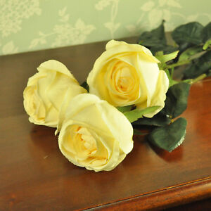 Luxury artificial silk flowers 3 single rose stems cream wedding image is loading luxury artificial silk flowers 3 single rose stems mightylinksfo