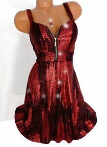 glitzer kleid skaterkleid partykleid cocktailkleid abendkleid rot 34 36 38  ebay