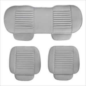 3X-Universal-PU-Leather-Grey-Car-Seat-Cover-Set-Bamboo-Cushion-Pad-Front-amp-Rear